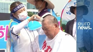 S.Korea protesters shave their heads in opposition to THAAD missile deployment