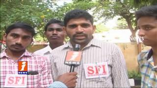 ABVP and SFI Dharna Over Eamcet 2 Leak | Khammam | iNews