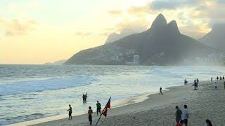 Waves hit Olympic Broadcasting Services building on Copacabana