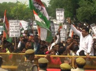 कांग्रेसी नेता संदीप तंवर ने किया NDMC के खिलाफ प्रदर्शन