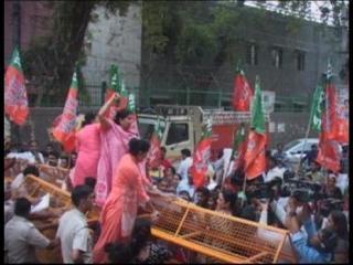 दिनेश मोहनिया के खिलाफ बीजेपी की महिलाओं ने किया प्रदर्शन