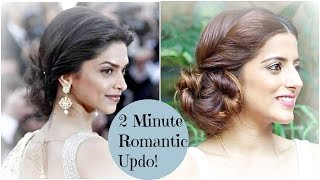 2 Minute ROMANTIC Bun Hairstyle - Deepika Padukone  EASY Updo Hairstyles
