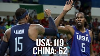 USA Basketball blows out China, wins 17th straight game - Rio Olympics 2016