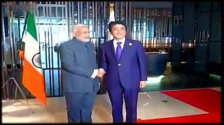 Indian flag upside down at Modi-Abe meet