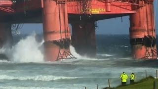 Raw: Heavy Winds Blow Scottish Oil Rig Ashore