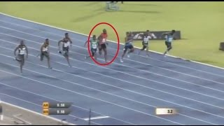 Usain Bolt SLIPS during 100m race and still managed to win (+ interview) Racers Grand Prix