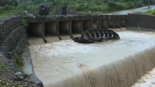 Taiwan Army Tank Falls Off Bridge Into River