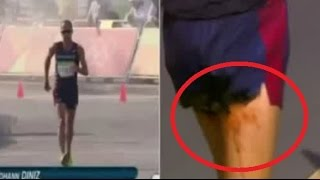 Unfortunate POO accident for French race walker Yohann Diniz - Rio Olympics 2016