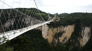 China opens longest glass bottom bridge in world