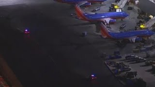 Raw: Aerials of LAX Amid False Report of Gunman