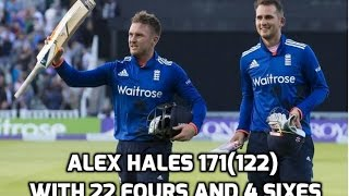 Alex Hales 171 the highest ever ODI score - England vs Pakistan - 3rd Odi