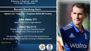 England vs Pakistan 2016 - 3rd ODI, Trent Bridge - Record Breaking Stats