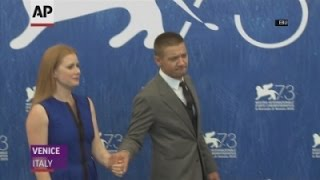Adams and Renner celebrate their 'Arrival' in Venice
