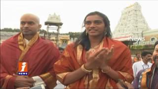 PV SIndhu and Gopichand Visits Tirumala iNews