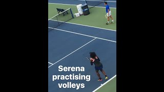 Serena Williams practicing before match against Simona Halep at US Open 2016 - September 7