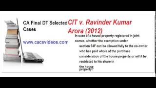 CA Fial Direct Taxes Selected case part 8 Nov2015