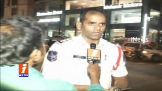 Heavy Traffic Towards  Madhapur To Hitech City Heavy Rain in Hyderabad iNews