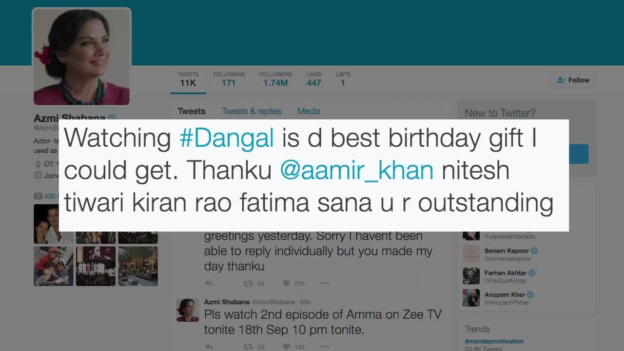 Shabana Azmi's Must Watch reaction after watching Aamir's 'Dangal'
