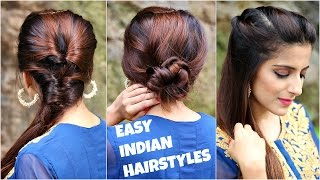 3 HEATLESS Hairstyles for Medium/Long Hair/EASY Everyday Indian Hairstyles For School, College, Work