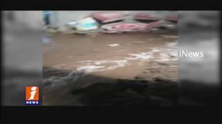 Rajendra Nagar Lake Bundle Breached -  Heavy Water Flows Into Rashid Colonyf | Hyderabad | iNews