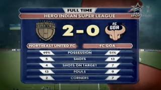 NorthEast United FC vs FC Goa 2 - 0 Scorecard - ISL 2016 Match 4 Result