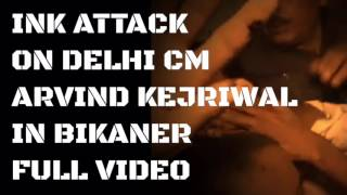 INK ATTACK ON DELHI CM Mr. ARVIND KEJRIWAL IN BIKANER | Arvind kejriwal - AAP - INK ATTACK