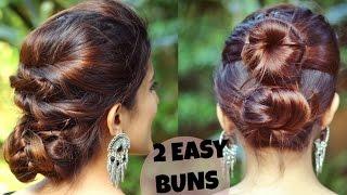 2 QUICK & EASY Indian Bun Hairstyles For Medium/Long Hair For Saree/Lehenga/No Teasing,No Hairspray