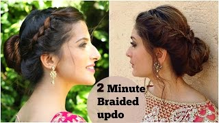 2 Minute BRAIDED Bun Hairstyle For Navratri/ Durga Puja/ Kareena Kapoor- Easy Updo Indian Hairstyles