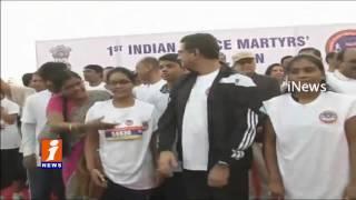 Governor Starts 1st Indian Police Marathon Memorial Run | Hyderabad | iNews