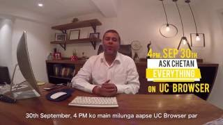 Chetan Bhagat Live on UC Browser - 30th September @ 4 PM