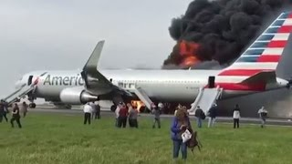 Plane crash, Chicago's O'Hare airport American Airlines flight 383 in flames