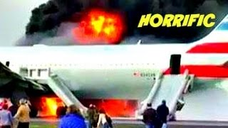 American Airlines Plane Flight 383 on FIRE Evacuated in Chicago Ohare Airport