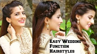 3 QUICK & EASY Hairstyles For Indian Wedding Occasions  - Indian Party Heatless Hairstyles