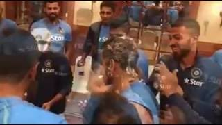 virat kholi celebrating his birthday with indian cricket team | cake all over virat's face