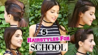 5 QUICK & EASY 1 Min Hairstyles For School / College - Hairstyles For Girls For Medium / Long Hair