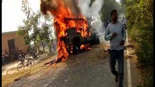 हादसे में युवक की मौत से गुस्साएं ग्रामीणों ने जीप में लगाई आग