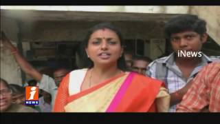 MLA Roja Slams Modi on Ban on Notes Roja Standing In Front Of Bank For Currency Exchange iNews