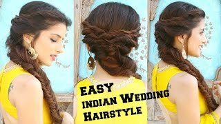 EASY Hairstyle For Indian Wedding Occasions Medium Long Hair Party Heatless