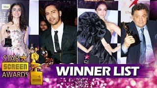 Star Screen Awards 2016 - COMPLETE WINNERS LIST - Alia Bhatt, Deepika Padukone, Varun Dhawan