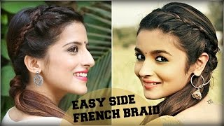 CUTE & EASY Everyday Side French Braid Ponytail With a Trick For School, College, Work Alia Bhatt
