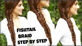 How To: EASY Fishtail Braid Tutorial For Beginners For College, Work Fishtail Braid Hairstyle