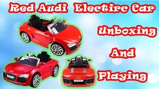 Unboxing New Red Audi Spiderman Battery - Kids Ride On Super Audi  Car 6V Test Drive - Kids Toys