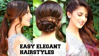3 EASY Elegant New Years Eve Hairstyles / Indian Party Hairstyles For Medium To Long Hair