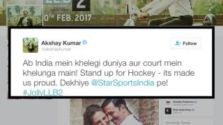 Akshay Kumar promotes Hockey in Jolly LLB style