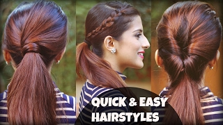 1 Min Everyday EFFORTLESS Hairstyles With Ponytails For School, College, Work, | Indian Hairstyles