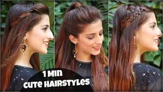 1 Min CUTE & EASY Everyday Hairstyles For School, College, Work / Valentine's Day Hairstyles