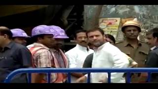 Congress VP Rahul Gandhi at the site of Flyover Mishap Spot in Kolkata, West Bengal, 2 April 2016