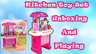 Kichen Toys Unboxing ||Soup cooking vegetables stove pots pans fryingpan learn cooking colors shapes
