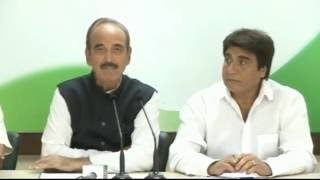 AICC Press Briefing By Ghulam Nabi Azad with Raj Babbar at Congress HQ. October 15, 2016