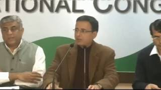 AICC Press Briefing By Shri Randeep Surjewala, Rajeev Gowda at Congress HQ. December 31, 2016